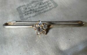 vintage art deco clear rhinestone daisy flower stock tie pin brooch -10