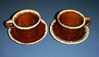 Vintage HULL Pottery Brown Drip Glaze CRESTONE 8 oz Coffee Cups & Saucers 2 Sets