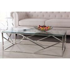MODERN AND CONTEMPORARY STAINLESS STEEL COFFEE TABLE WITH TE
