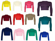 No Pattern Long Sleeve Petite Fitted Tops & Shirts for Women