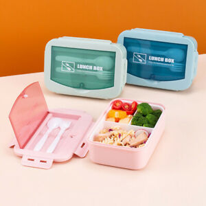 3 Compartments Bento Lunch Box Kids Adult Snack Food Storage Container Portable