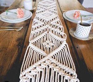 """Cotton  Fringe Tassel  Macrame Table Runner  Wedding Boho  Home Decor  10"""" x 69"""""""