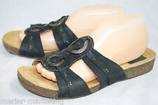 CLARKS Bendables 85338 Wo's 9.5M Black Leather T-Strap Slide Sandals