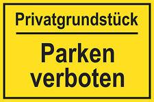 2 x Schild PVC Privatgrundstück Parken verboten! 250x150mm Parkverbot 2 Stück !