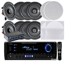 "4 Pairs of 150W 5.25"" In-Wall / In-Ceiling Stereo White Speakers w/ 300W Digital"
