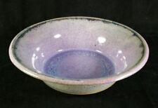 "Handcrafted Studio Art Pottery Bowl w Purple Glazes Artist Signed 9.5""x3""NMINT"