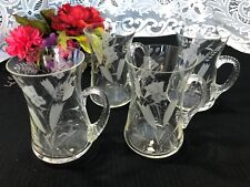 """Set of 4 """"Flower Etched - Applied Handles"""" Glass Mugs 5 1/4"""""""