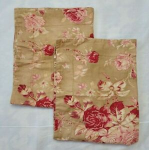 2 Pottery Barn Red Pink Floral Rose Shams Linen Cotton Beige Standard Daisy