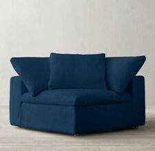 Restoration Hardware Cloud Classic Corner Chair SLIPCOVER Washed Linen Cobalt