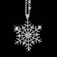 Fashion Christmas Gift Silver Frozen Snowflake Crystal Pendant Chain Necklace FT