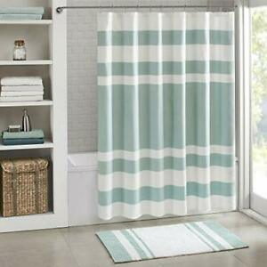 Madison Park Spa Waffle Shower Curtain Pieced Solid Microfiber Fabric with 3M...