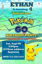 POKEMON GO PIKACHU Birthday party invitations personalized You print