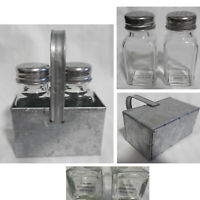 "NEW Farmhouse Clear Glass 3 5/8"" H Salt Pepper Shakers in 5"" H Galvanized Caddy"