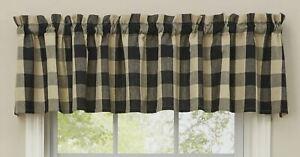 "1 Wicklow Black Tan Buffalo Check Country Farmhouse Window Valance 72"" x 14"""