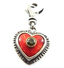 NEW Silpada Heart Red Love Coral 925 Sterling Silver Swarovski Crystal Charm