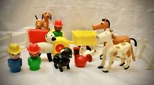 Vintage Fisher Price Barn Play Family Little People Farm Animals & Tractor Wagon