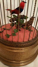 Reuge Music Antique Finish Singing Birds Automation Birdcage