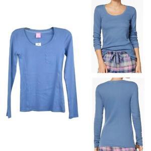 Jenni Womens Lounge Long Sleeve Ribbed Pajama Top Skyline Blue New Opt Size