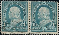 PAIR of 1895 Blue 1c Ben Franklin STAMPS Lite Flag Cancel US 264 VF