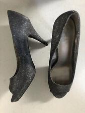 Fergalicious Heels Size 8.5 Glitter Silver Open Toed 4 Inch Heel Dressy