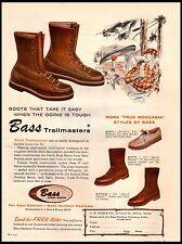 1958 Bass Footwear Trailmaster Quail Hunter Leather Boots Vintage Print Ad