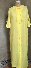 Womens Vintage Housecoat Robe Thin Yellow Swiss Dot 3/4-Slv Bows M Union Workers