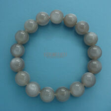 Natural Gray Moonstone Round Beads / Stretch Bracelet 12mm Silver Flash #19426