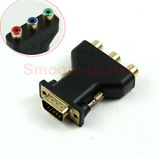 15 Pin VGA Male to 3 RCA Female M/F New Black Adapter Connecter Converter