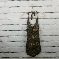 Suddenly Slim by Catalina Womens 2X Tummy Control Swimsuit Leopard Print Padded