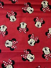Disney MINNIE MOUSE Heads Fabric By the Half Yard 100% Cotton