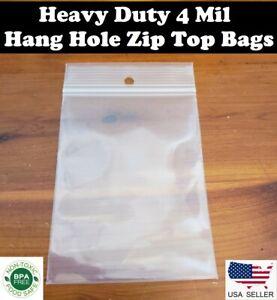 Clear 4mil Hanghole Plastic Zip Bags Hang Hole Reclosable Top Lock Seal Baggies