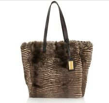 Women's Winter dress Faux fur hand bag purse large tote genuine Leather gift$200