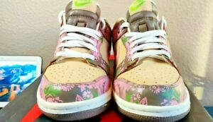 NIKE DUNK LOW FLORAL PRINT 2007 YOUTH GS 10056-1333 Pink Size 6y Women's 7.5