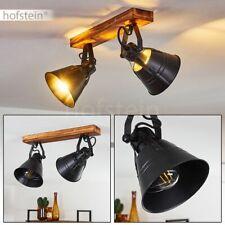 2-flammige Decken Leuchte Holz/schwarz Wohn Schlaf Zimmer Lampe Küche Flur Spots