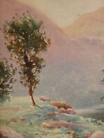 Eugène Forel ( XIX - Xx)Landscape Lake Edge of Gave Pau Pyrenees Mountain