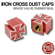 4x Red Iron Cross Car Bike Motorcycle BMX Wheel Tyre Valve Metal Dust Caps VW