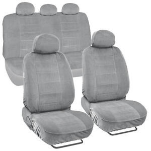 Thick Encore Fabric Car Seat Covers Full Interior for Auto SUV Van - Light Gray