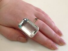 Antique sterling silver crystal rock ring Art Deco 1930 size 6 (m1869)