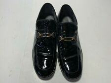 Men's Freeman RETRO Black Patent Leather Loafer GOLD TONE BUCKLE  SIZE 9 D