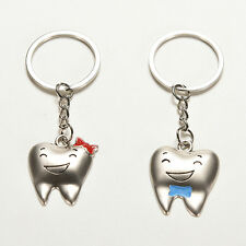 1 Pair Cute Tooth Couple Metal Keychain Keyring Gift For Lover Children FriendLW