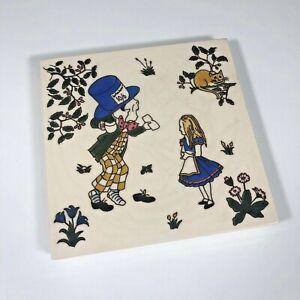 """Alice In Wonderland Decorative Porcelain TIle Trivet 6""""x6"""" Made In England"""