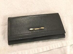 Yolanta grey gray leather clutch bag purse
