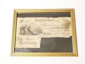 1887 Original Five Pound £5 Banknote DURHAM BANK Cancelled No. CR777