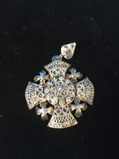 "Large 900 Silver Filigree Jerusalem Crusader 2"" Cross L6"