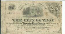 1862 City of Troy New York 25 Cents Bank Note Serial #6185 Nice Fine Courthouse