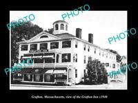 OLD LARGE HISTORIC PHOTO OF GRAFTON MASSACHUSETTS, THE GRAFTON INN HOTEL c1940
