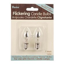 CANDLE BULB, Flickering, 2 pk Glass Bulb 1 watt #6400-Night Light Size Bulb