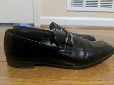 Prada Men's Black Patent Leather Logo Buckle Loafers Shoes Size 9.5 US/  8.5 UK