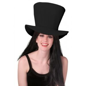Foam Fabric Top Hat Adult Mad Hatter Black, Green or Red Halloween Costume Acsry