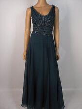 Jkara Steel Blue Chiffon Vneck Vback Beaded A Line Skirt Formal Gown NEW J313